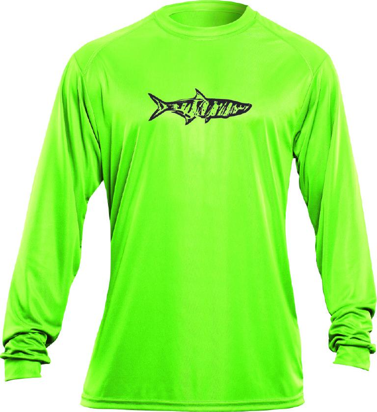 Flying fisherman tl1402l tarpon l s performance tee lime t for Long sleeve fishing t shirts